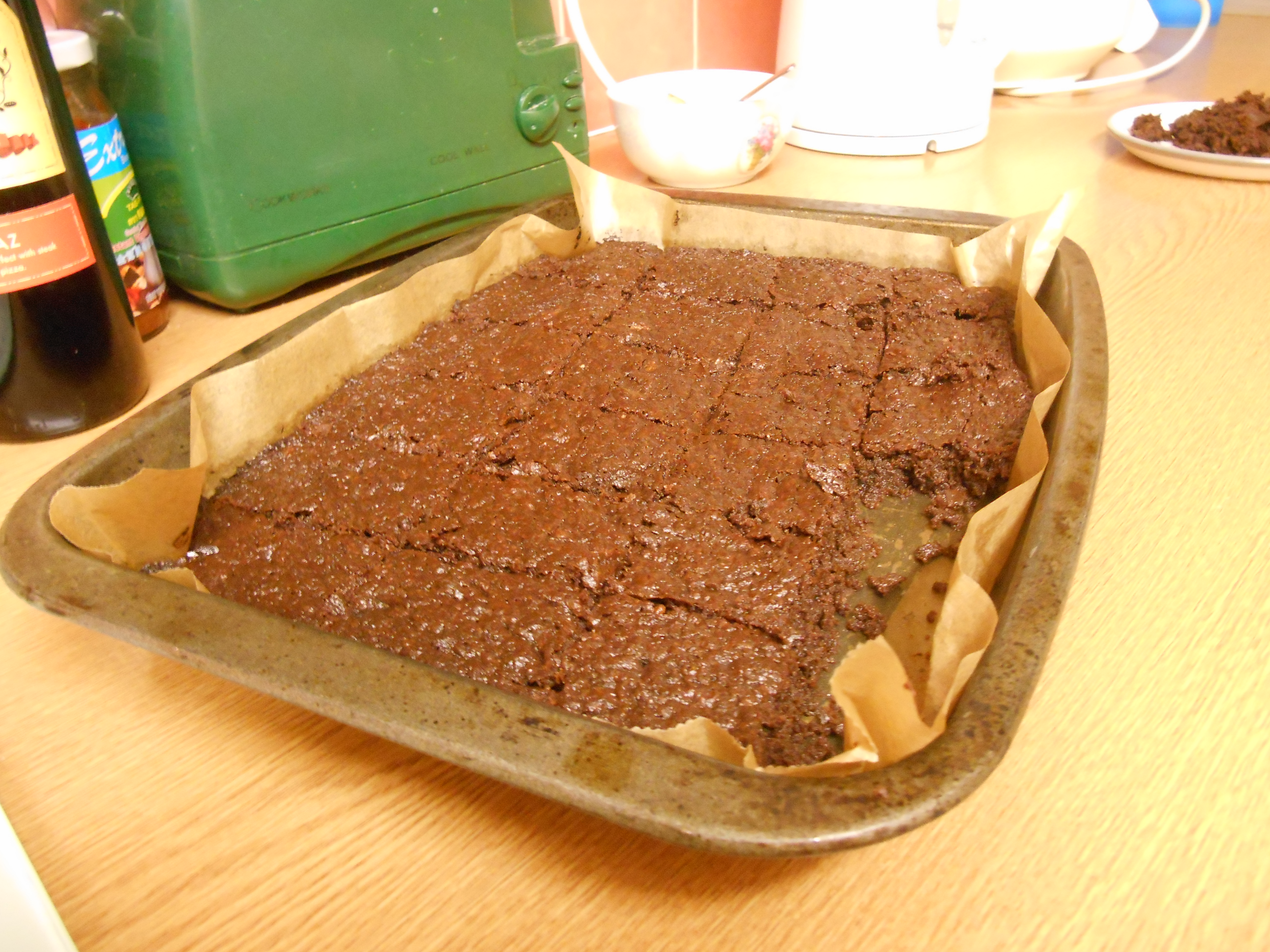 Chocolate, date and hazelnut brownies. Look and taste good, but somewhat lacking in structural integrity!