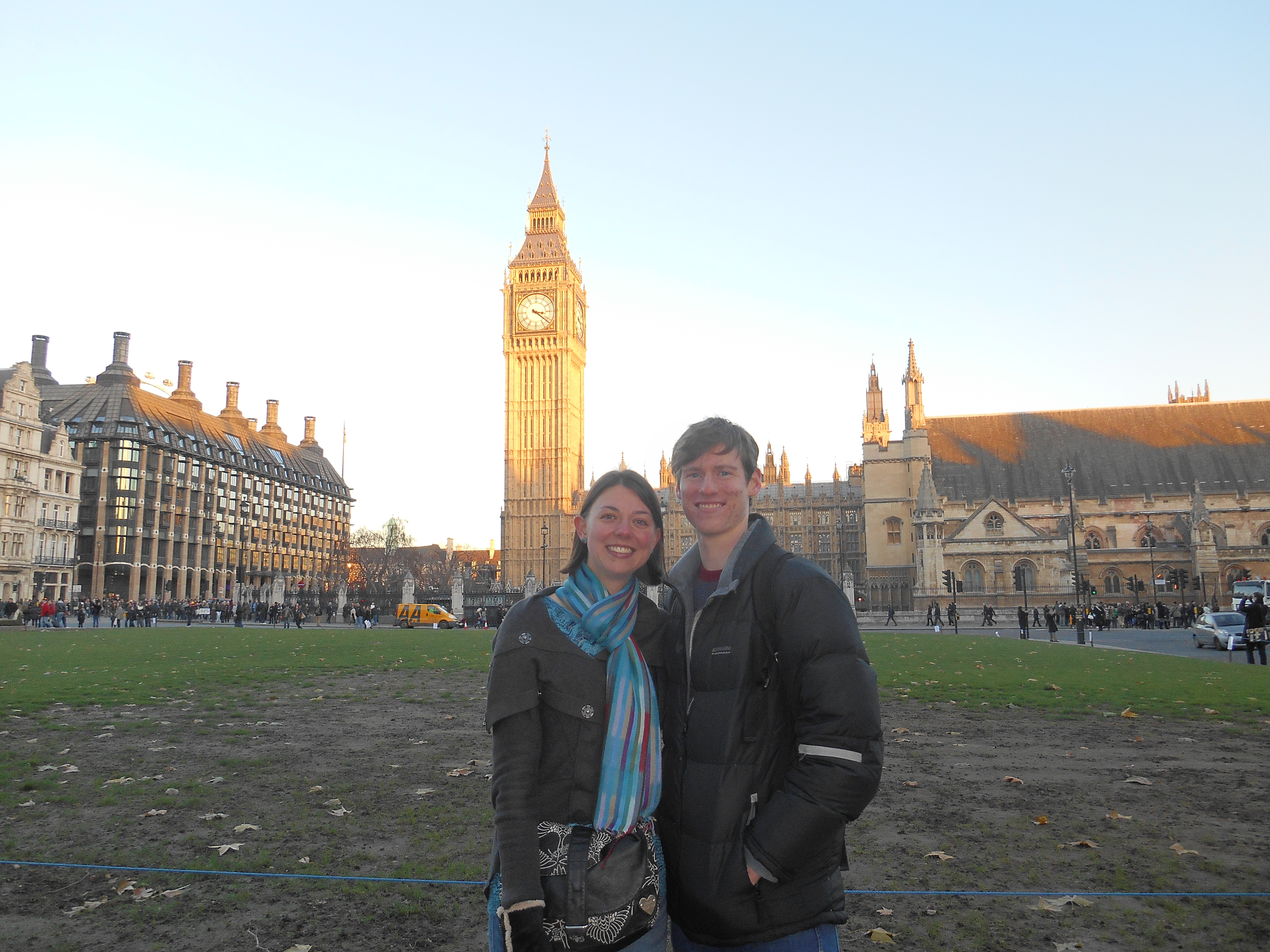 My one touristy photo or the day! Me, Peter and the afternoon sun on Big Ben.