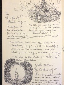 Another page of Andrew's notebook, with sketches and notes for 'Blackbird' and 'Candlelight'.